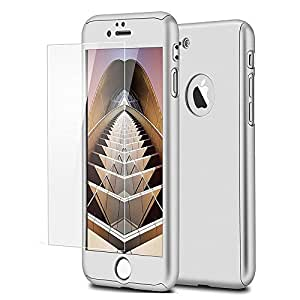 iPaky 360 Protective Body Case with Tempered Glass for Apple iPhone 7 - Silver