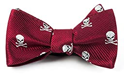 100% Woven Silk Skull and Crossbones Red Self-Tie Bow Tie