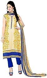 Yati Women's Cotton Unstiched Salwar Suit Dupatta Dress Material (Blue & Mustard, Free Size)