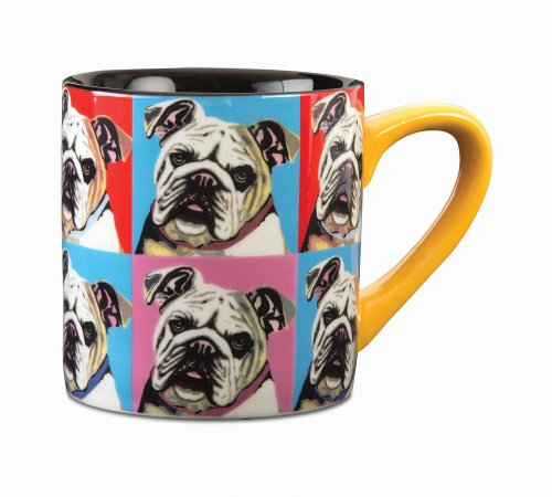 Paw Palettes Bulldog Woofhol Ceramic Mug, 16-Ounce front-429038