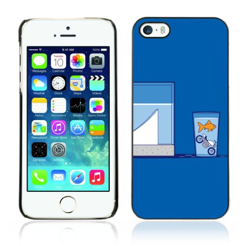 Designer Depo Hard Protection Case for Apple iPhone 5 5S / Goldfish Motorcycle Jump