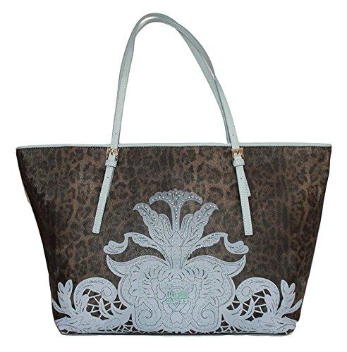 CLASS CAVALLI (Resort) Borsa Shopping Ecopelle Donna Leopard Light Blue CFQ.003