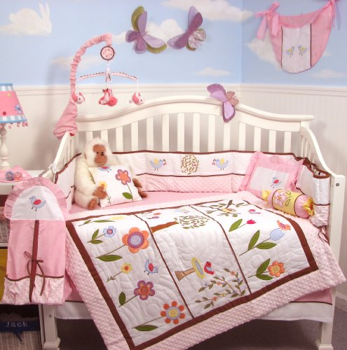 Soho Pink Summer Bird Songs Baby Crib Nursery Bedding Set 13 Pcs Included Diaper Bag With Changing Pad & Bottle Case front-723877