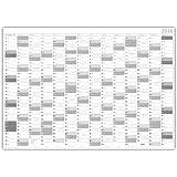 Jahreskalender 2016 gerollt (grau2) - Sehr groß im DIN A0 Format (840 x 1188 mm) mit extra großen Tageskästchen. (Wandkalender sind gerollt)