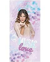 CTI 042082 Drap de Plage Disney Violetta Love Coton Parme - 75 X 150 cm
