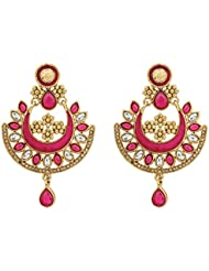 R18Jewels-Fashion&U Princess Anushka Gold Metal Pink / Rani Enamel & Stones - Chandbali Kundan Earrings For Women...
