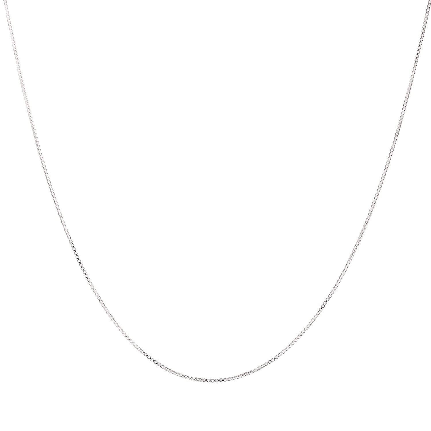925 Sterling Silver 1MM Box Chain Italian Crafted Necklace Thin Lightweight Strong - Spring Ring Clasp