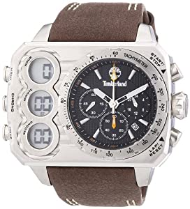 Timberland Men's Quartz Watch with Black Dial Chronograph Display and Brown Leather Strap TBL.13673JS/02