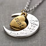 YSTD® New Family Silver Plated Chain I Love You To The Moon And Back Necklace Pendant