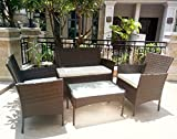4pcs Effect Rattan Outdoor/Indoor Garden Coffee Table And Chairs Set (Dark Brown)