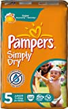Pampers Simply Dry Size 5 (20-44 lbs/11-25 kg) Nappies - 2 x Economy Packs of 44 (88 Nappies)