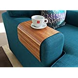 Stylish flexible sofa tray from natural bamboo with brown finish. Couch tray. Stylish couch decor. Sofa arm tray. Sofa table. Wooden laptop tray. Coffee tray placemat. Unique Christmas gift idea for men and women.