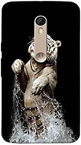 Timpax Protective Hard Back Case Cover Printed Design : A Tiger in water.Specifically Design For : Motorola Moto X-3 ( 3rd Gen )