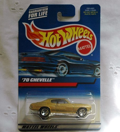 Hot Wheels - 2000 Series - '70 Chevelle - Collector #107 (2000:107) - 1:64 Scale Classic Collector Car Replica. Metalflake Gold Body Color. 5-Spoke Wheel Hubs.
