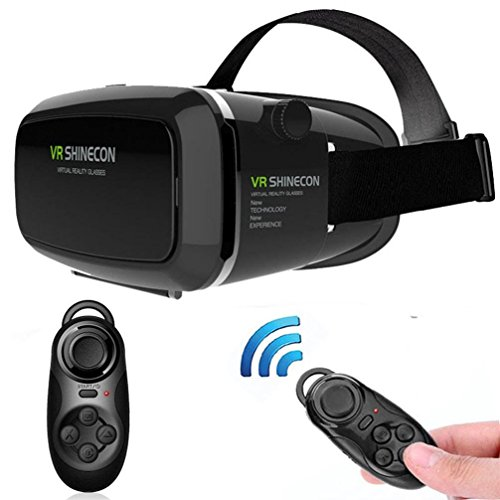Bolayu Shinecon 3D Virtual Reality VR Glasses Head Mount Movies Games + Bluetooth Controller for Samsung