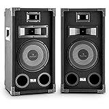 Auna PA-800 Fullrange PA-Lautsprecher Boxen Paar Lautsprecherboxen (8 Zoll 20cm Tieftöner, 3-Wege, 800W max. , Bassreflex, passiv) schwarz