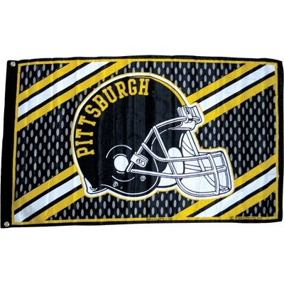 Pittsburgh Flag Mesh W/ Helmet 3' X 5' at Steeler Mania