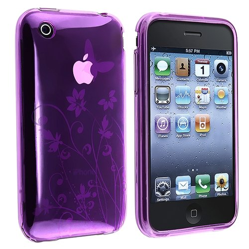 TPU Rubber Skin Case compatible with Apple® iPhone® 3G / 3GS, Purple Flower with Butterfly