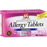 Diphenhydramine HCl 25 Mg Allergy Medicine and Antihistamine Compare to Active Ingredient of Benadryl� Allergy Generic - 400 Tablets ~ Members Mark