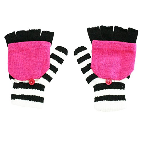 Nolan Girls Striped Convertible Fingerless Gloves Winter Snow Mittens Pink 4-14 (Kids Convertible Gloves compare prices)