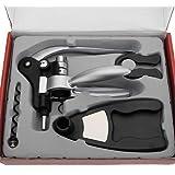 MECO Rabbit Puller Red Wine Bottle Cork Opener Tool Corkscrew Collar Pourer Gift Set
