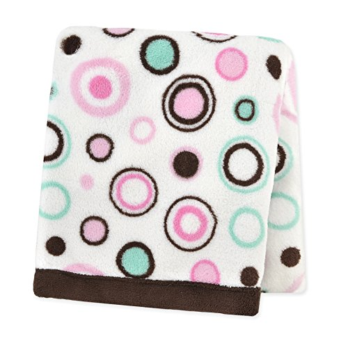 Carter's Plush Fluffy Fleece Blanket, Circles/Pink/Brown/White/Mint