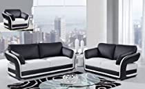 Hot Sale Global Furniture Usa A189 3 Piece Bonded Leather Living Room Set In Black & White