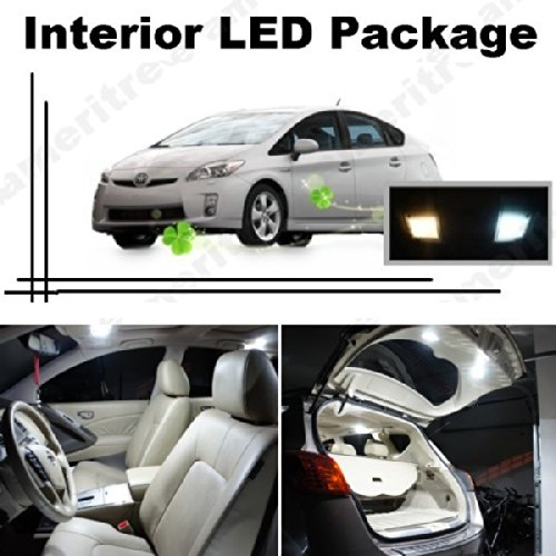 Ameritree Xenon White Led Lights Interior Package + White Led License Plate Kit For Toyota Prius 2004-2013 (10 Pcs)
