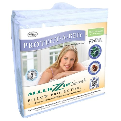 Protect-A-Bed AllerZip Smooth Waterproof Pillow Protector, Standard 21x27, Pack/2