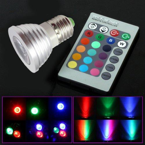 Sunsbell 3W E27 Rgb Led Bulb Light Ac100-245V Spot Light 16 Colors With Ir Remote Control