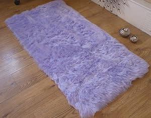Lilac faux fur oblong sheepskin rug 70 x 140 cm rectangle