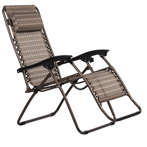 Finether-Gartenliege-Strandliege-Sonnenliege-Sonnenstuhl-Liegestuhl-mit-Kissen-Relaxliege-Kippliege-Klappliege-klappbar-verstellbar-braun