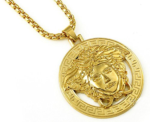 2015 New 18K Gold Plated Medusa Big Coins Pendent Necklace