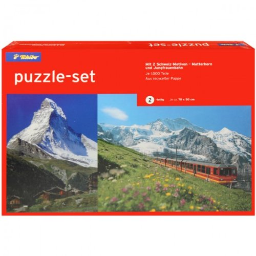 2er Set Puzzle 1000 Teile Matterhorn und Jungfrauenbahn Tchibo Landschaft