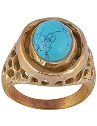 Metal Ring With Natural Turquoise - B00KILFNX0