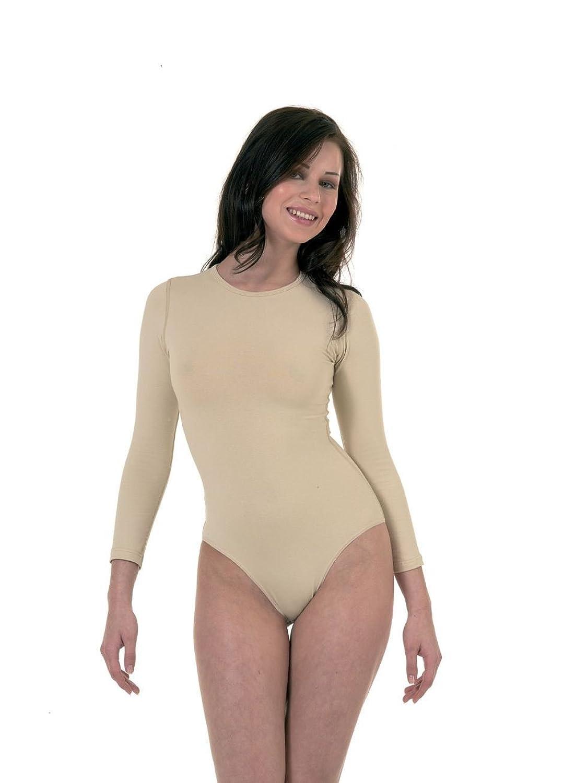 Frauen-Qualität Rundhals-volle Hülsen-beige Farbe Viscose Bodysuits(ref:Skin Viscose Bodysuits)