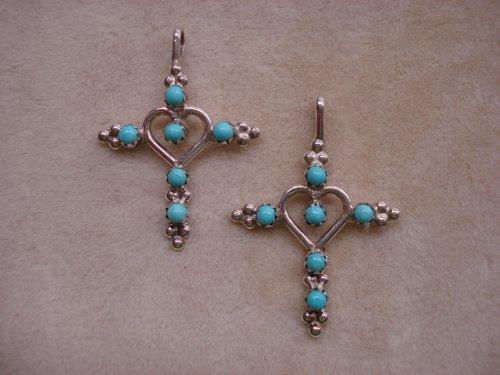 Zuni Handmade Fine Sterling Turquoise Cross Pendant with Heart Center