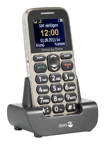 Primo 215 by Doro GSM Mobiltelefon mit Tischladestation (Notruftaste, Bluetooth, Taschenlampe) beige