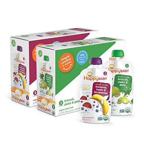 Happy Baby Organic Stage 2 Baby Food, Simple Combos, Beets & Blueberries and Broccoli Pears & Peas, 4 Ounce, 8 count (Pack of 2) (Babies Food compare prices)