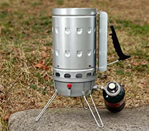 Chimney Barbecue Grill Starter with Gas burner assist for faster starts