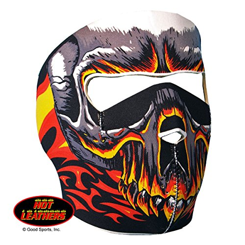 Hot Leathers Bikers Full Protection RED EVIL SKULL NEOPRENE FACE MASK, with Velcro Back Closure (Hot Leathers Face Mask compare prices)