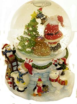 San Francisco Music Box Company - Santa With Penguins Decorating Tree Water Globe - Plays