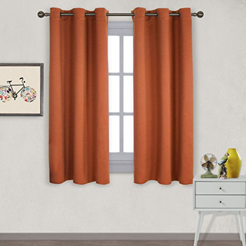 Nicetown Triple Weave Microfiber Home Thermal Insulated Solid Ring Top Blackout Curtains / Drapes for Bedroom(Set of 2,42 x 63 Inch,Orange) (Bright Green Thermal Curtains compare prices)