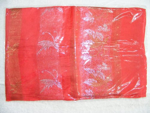 Women's 100% Thai Silk Scarf- Red with Ornate Silver/Gold Mosaic Artwork