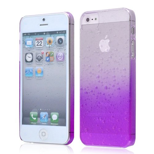 iPhone 5 Purple 3D Rain Drops Design Hybrid Hard Case Cover + Free Screen Protector - Part Of Fab Mobile Phone A