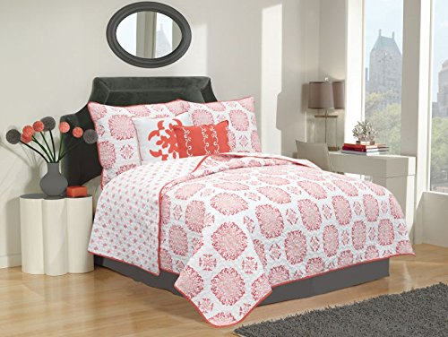 New PinkRoseBedding Reversible Microfiber Printed Quilt, Full/Queen (Red)