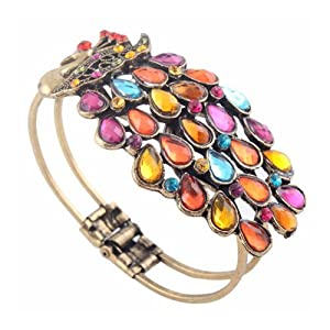SODIAL- Multi Vintage Colorful Crystal Peacock Bracelet Bangle