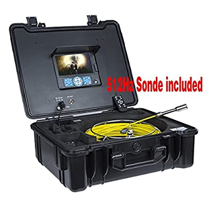 GooQee PIC003 Professional Waterproof 7-inch DVR Video System Drain Pipe Tube Inspection Sewer Camera snake , with φ0.9-inch/23mm Camera length in 4.7-inch/120mm, 512Hz Sonde, Sony CCD Sensor , Text Writer, 8GB SD Card
