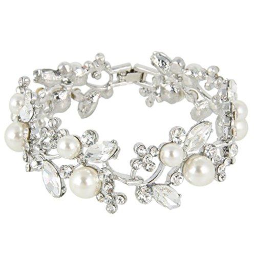 Ever-Faith-sterreichischen-Kristall-knstlich-Perl-Blume-Braut-Armband-Silber-Ton-klar-N04335-2