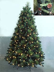 #!Cheap 7.5' Pre-Lit Artificial Christmas Tree with Pine Cones - LED Lights